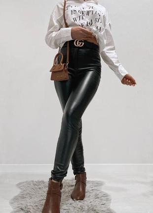 Черные лосины на флисе теплые штаны эко кожа