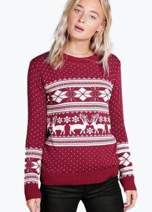 Шикарный свитер с орнаментом boohoo, made in uk, 💯 оригинал, молниеносная отправка 🚀⚡