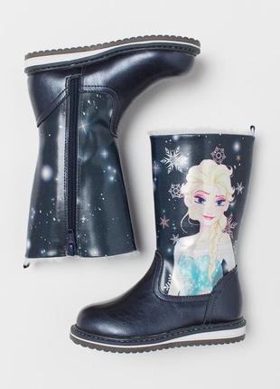 Ботинки сапожки h&m на девочку 33р, чобітки чоботи на дівчинку 33р frozen