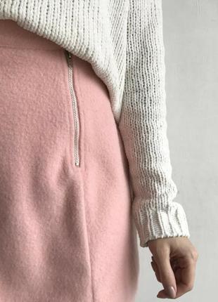 Розовая теплая шерстяная юбка missguided