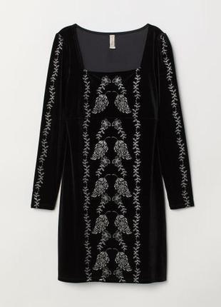 Бархатное платье h&m