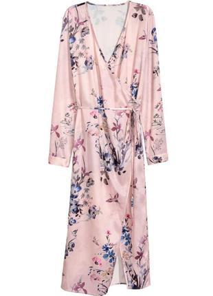 Стильное платье халат, накидка h&m на запах в цветочный принт.