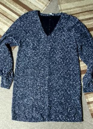 Красивое металлическое платье  туника люрекс трикотаж мини