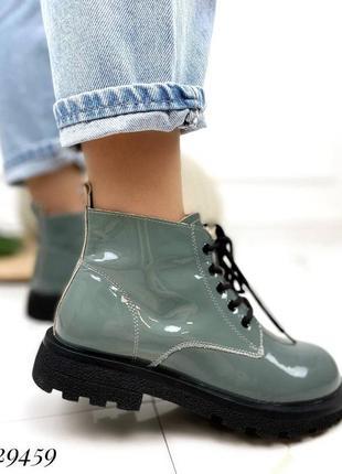 ❤ женские синие лаковые весенние демисезонные ботинки ботильоны ❤