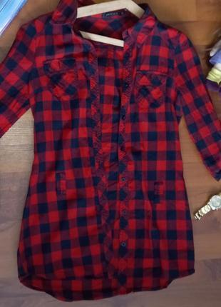 Удлинённая рубашка с поясом