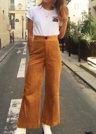 Вельветовые широкие укорочённые брюки zara xs