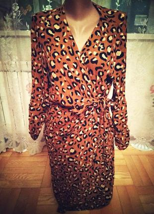 Брендовое эксклюзивное платье на запах, размер 14-16