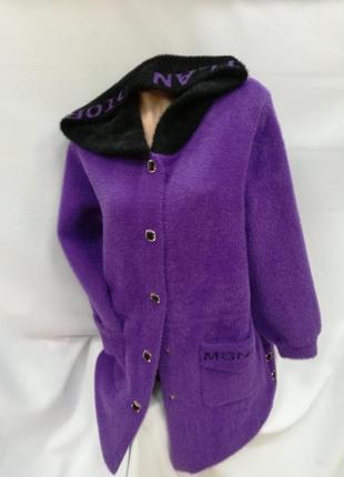 Женские кардиганы -пальто альпака оверсайз
