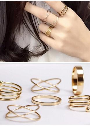 Набор колец кольца на фаланги под золото