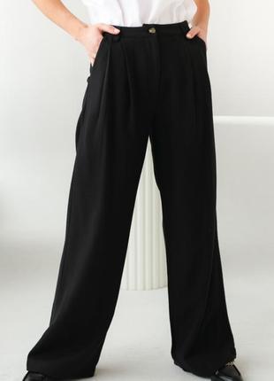 Теплые брюки свободного кроя оверсайз с высокой посадкой
