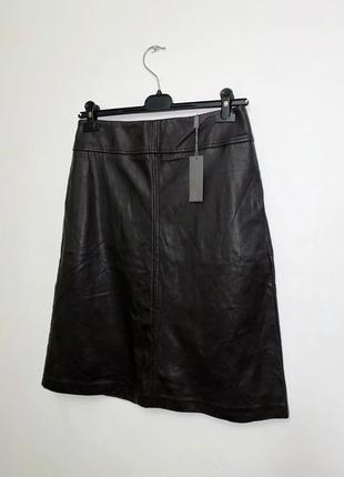 Кожаная юбка трапеция label