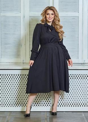 Модное платье-галстук с бантом, легкое, большие размеры 50-64
