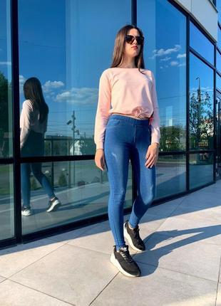Плотные  джинсы с утяжкой, эластичные джеггинсы, джинсы с потертостями, р-р 54-58
