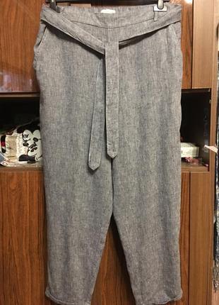 Модные льняные штанишки   талия на резинке с пояском