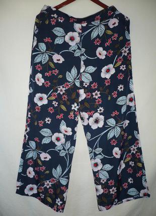 Брюки шифоновые с карманами, цветочный принт