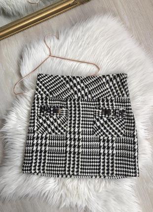 Базовая женская твидовая мини-юбка трапеция с подкладкой s 36