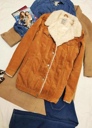 Вельветовая теплая куртка, шерпа, куртка с мехом denim co 🍁 горчичная рыжая😎