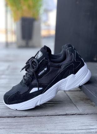 Кроссовки adidas falcone черные женские замша - наложенный платеж✅
