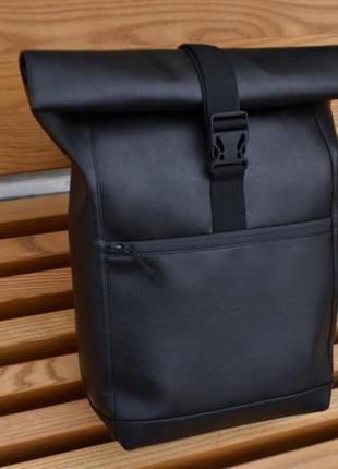 Кожаный рюкзак ролтоп роллтоп с экокожи унисекс