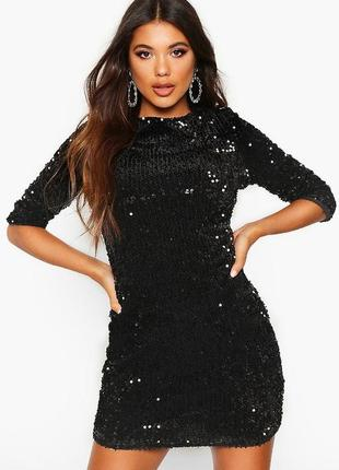 Черное мини платье в пайетках с рукавом 3/4 boohoo