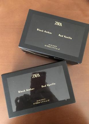 Новий набір zara black amber 100 ml + red vanilla 100 ml