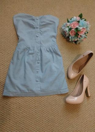 Голубое мини платье бюстье