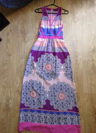 Шелковое длинное платье warehouse