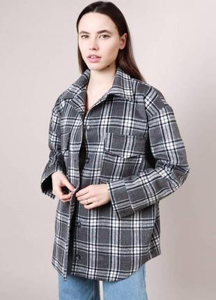 Куртка-рубашка в клетку на подкладе 2 цвета