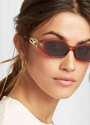 Тренд 2021 солнцезащитные очки светлые коричневые узкие геометрия ретро окуляри
