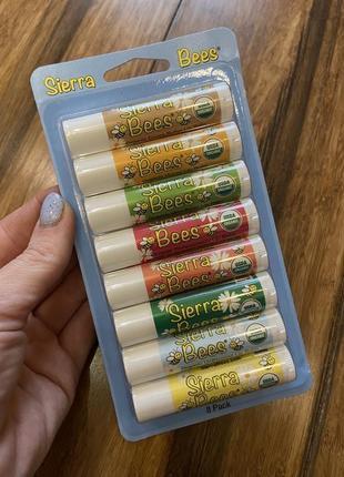 Sierra bees, набор органических бальзамов для губ.8шт