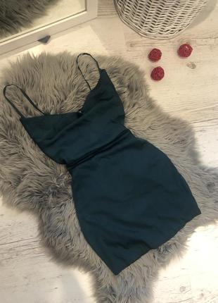 Сатиновое платье oh polly изумрудного цвета. сатинова сукня