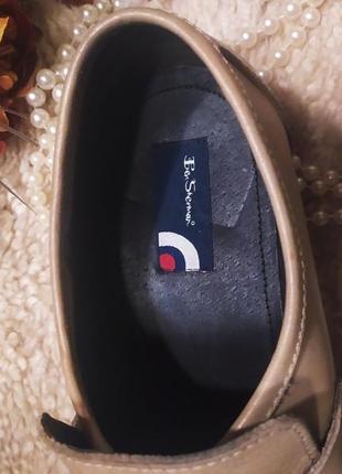 Стильні якісні бежево-коричневі шкіряні мужські туфлі ben sherman розмір 44-459 фото