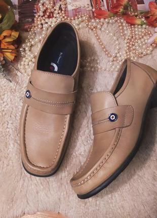 Стильні якісні бежево-коричневі шкіряні мужські туфлі ben sherman розмір 44-452 фото