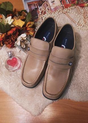 Стильні якісні бежево-коричневі шкіряні мужські туфлі ben sherman розмір 44-45