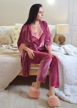 Бархатный домашний костюм, велюровый халат + пижама майка, шорты, штаны, піжама
