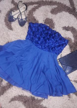 Коктельное пышное нарядное платье вечернее синее новое