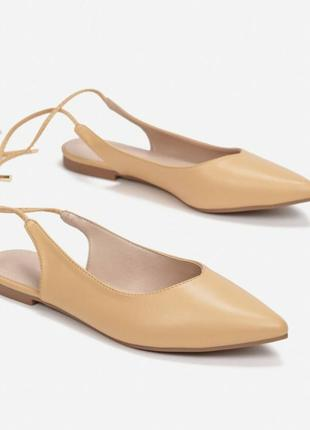 Слингбэки мюли босоножки сандалии открытая пятка на завязках острый носок
