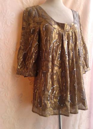 Просвещающаяся шифоновая блузочка обшитая золотым люрексом и паетками, l
