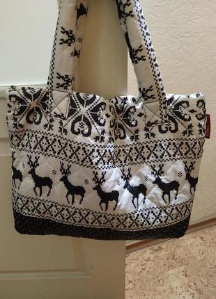 Зимняя белая сумка с оленями