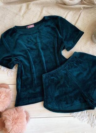 Плюшевая пижама домашний костюм, футболка + шорты + штаны, велюрова пижама