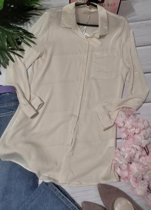 Базовая бежевая рубашка туника турция из тонкого хлопка