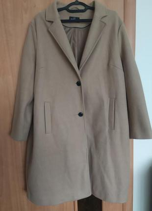 Пальто бежевое!фирменное пальто!трендовое пальто!прямое пальто!стильное пальто