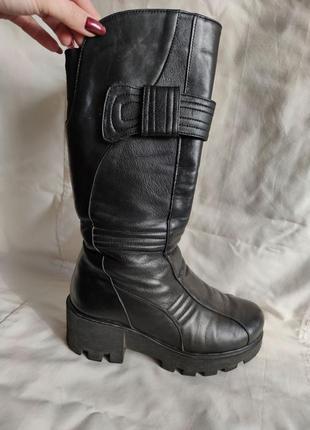 Сапоги ботинки кожаные кожа зима зимние теплые