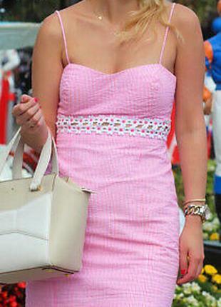 Дорогой бренд бандажное мини платье сарафан полоска кружево цветы золотая нить
