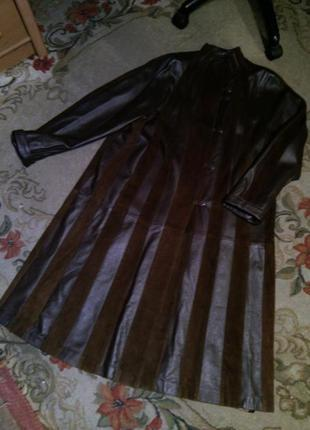 Роскошное,длинное кожаное,элегантное пальто-плащ трапеция,большого размера