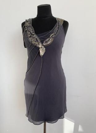 Платье шёлк с металлическими украшениями 44-46 гетсби чарльстон