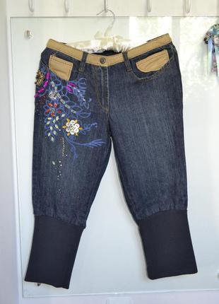 Джинсы галифе с вышивкой и рисунком