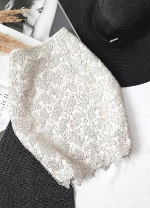Распродажа сатиновая нарядная юбка с кружевом пайетки h&m