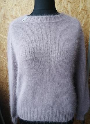 Джемпер свитер из ангоры ручная работа спицами пыльная роза