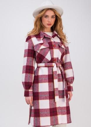 320 модное клетчатое пальто-рубашка весна/осень размеры 42-48